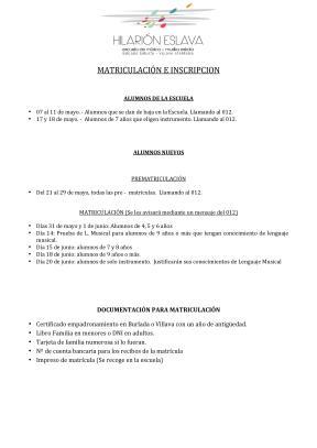 Fechas de inscripción y matriculación