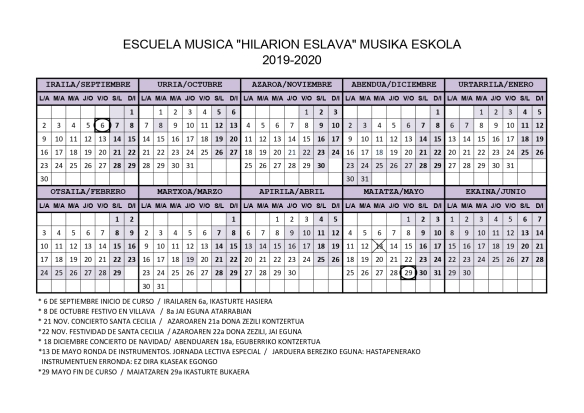 musika eskola Calendario 2019-2020jpg